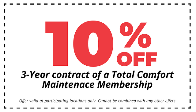 10% off 3 year contact of total comfort hvac maintenance membership coupon