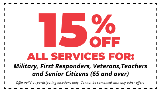 15% off all services for military, first responders, veterans, teachers, and senior citizens 65 and older