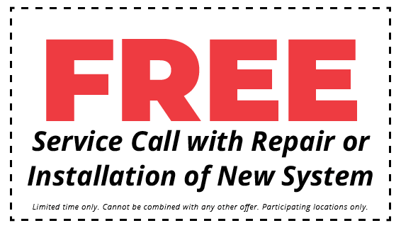 free service call with repair or installation of new system